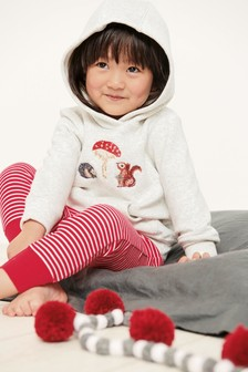 Пижамный комплект: штаны облегающего кроя и топ с капюшоном и вышивкой (9 мес. - 8 лет)