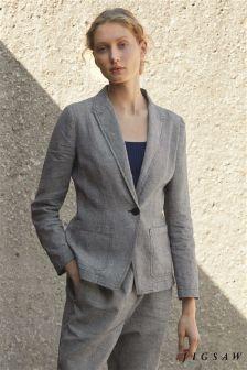 Jigsaw Black Weave Linen Louisiana Jacket