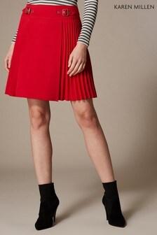 Karen Millen Red Interlinked Buckle Skirt