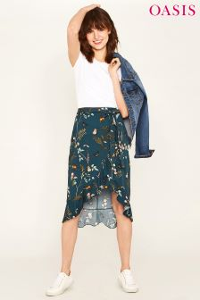 Oasis Blue Fitzwilliam Stannice Frill Midi Skirt