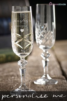 Set of 2 Personalised Crystal Champagne Glasses by Loveabode
