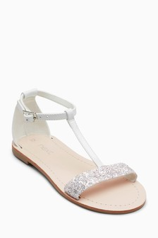 Next Ladies Silver Patent Sandals / Shoes Ankle Straps UK 7 / EUR 41