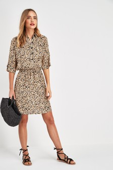 Utility Drawstring Shirt Dress