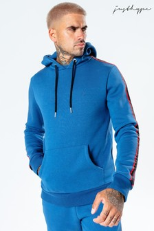 Hype. Mens Blue Sport Tape Pullover Hoody