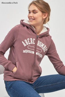 Abercrombie & Fitch Mauve Faux Fur Lined Zip Hoody