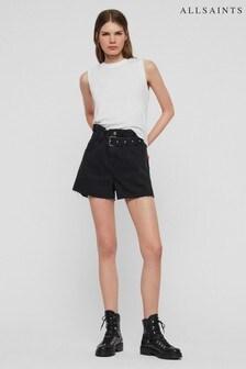 AllSaints Black Paper Bag Denim Short