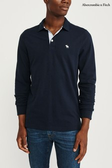 Abercrombie & Fitch Navy Long Sleeve Poloshirt