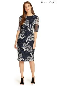 Phase Eight Navy Fern Embroidered Dress