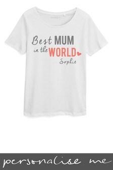 Personalised Best Mum In World Printed TShirt