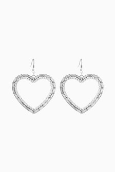 Sparkle Heart Motif Earrings