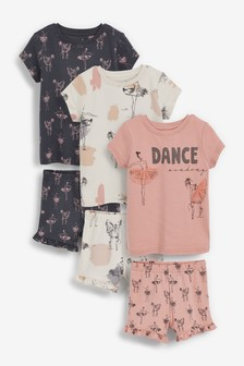 3 Pack Ballerina Short Pyjamas With Appliqué (9mths-12yrs)