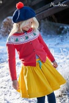 Boden紅色節慶趣味開襟毛衣