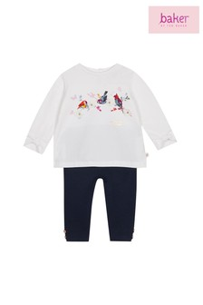 baker by Ted Baker Baby Girls Pleated Top And Legging Set