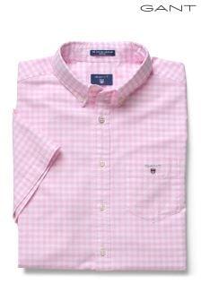 Różowa koszula w kratę gingham Gant Oxford