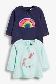 Confezione da 2 T-shirt unicorno e arcobaleno (0 mesi - 2 anni)