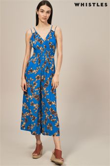 Whistles Blue Capri Print Jumpsuit