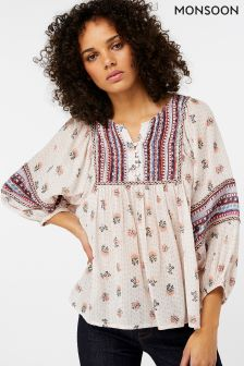 Monsoon Pink Mia Print Boho Top
