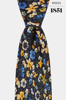 Moss 1851 Navy/Yellow Floral Print Tie