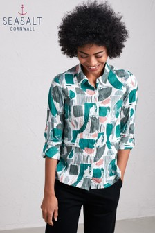 Seasalt Green Larissa Shirt Print Process Ecru