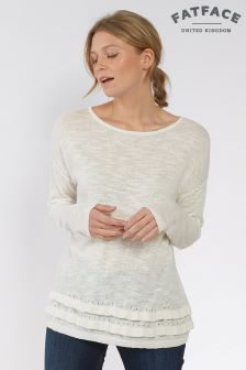 Fat Face White Georgie Ruffle Hem Jumper