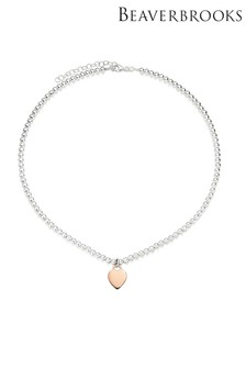 Beaverbrooks Silver And Rose Gold Plated Ball Heart Necklace