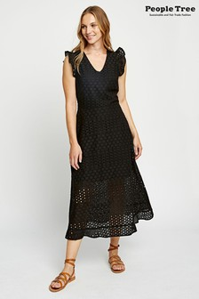 People Tree Black Organic Cotton Jessica Broderie Dress