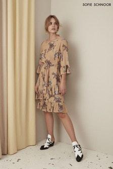 Sofie Schnoor Nude Floral Ruffle Dress