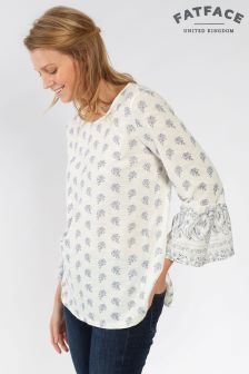 FatFace White Ellery Woodblock Paisley Top