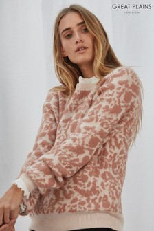 Great Plains Pink Feathered Leopard Knit Jumper