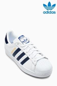 Белые кроссовки с темно-синей отделкой adidas Originals Superstar