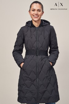 Armani Exchange Black Long Line Down Quilted Jacket
