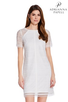 Adrianna Papell White Striped Lace Shift Dress