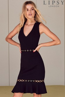 Lipsy Eyelet Detail Flute Hem Bodycon Dress