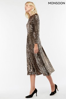 Monsoon Gold Saturn Sequin Midi Dress