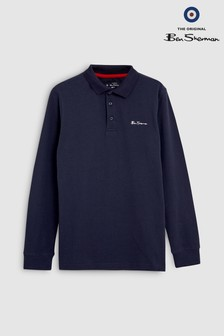 Ben Sherman® Long Sleeve Collar Print Poloshirt
