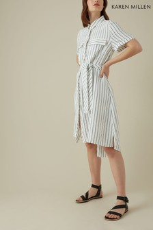 Karen Millen White Soft Stripe Collection Dress