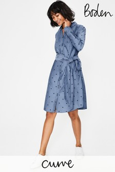 Boden Blue Modern Shirt Dress