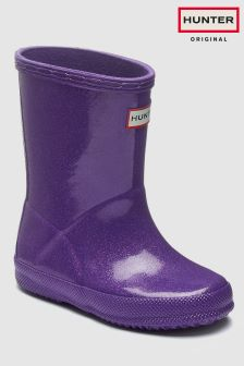 Hunter Purple Kids First Glitter Starcloud Wellington Boot