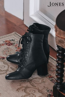 Jones Bootmaker Black Liana Lace-Up Heeled Ladies Ankle Boots