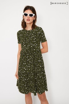 Warehouse Green Leopard Tiered T-Shirt Dress