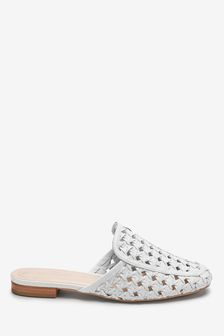 Signature Forever Comfort Leather Weave Mules