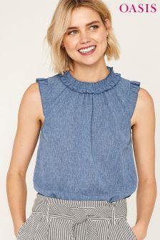 Oasis Blue Linen Look Pretty Ruffle Neck Top