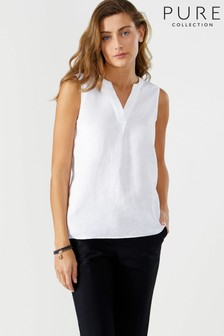 Pure Collection White Laundered Linen Sleeveless Top