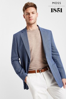 Moss 1851 Tailored Fit Blue Openweave Blazer