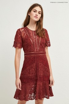French Connection Raspberry Chante Lace Mix Dress
