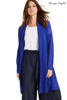 Phase Eight Blue Lili Sheer Longline Cardigan