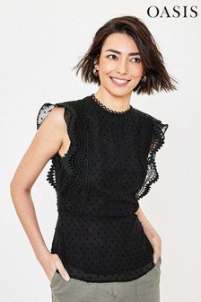 Oasis Black Dobby Lace Mix Shell Top