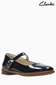 3f3a43331ce2 Tmavomodré lakované kožené detské topánky s oblou špičkou Clarks Drew Sky