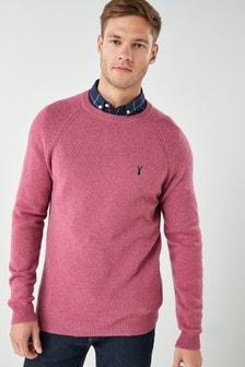 Lambswool-Pullover mit Rundhalsausschnitt