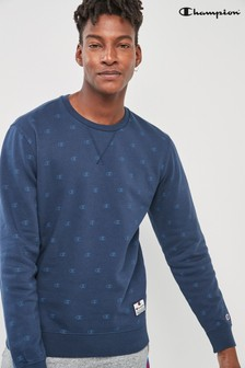 Champion Navy All Over Print Logo Crew Sweater